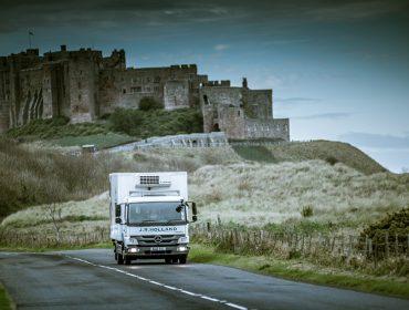 JR Holland truck next to castle